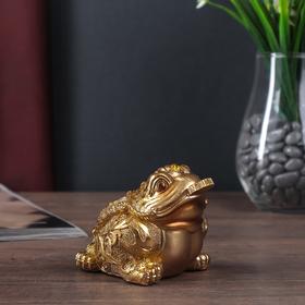 "Сувенир полистоун ""Золотая денежная жаба"" 7,5х11,5х8,5 см"