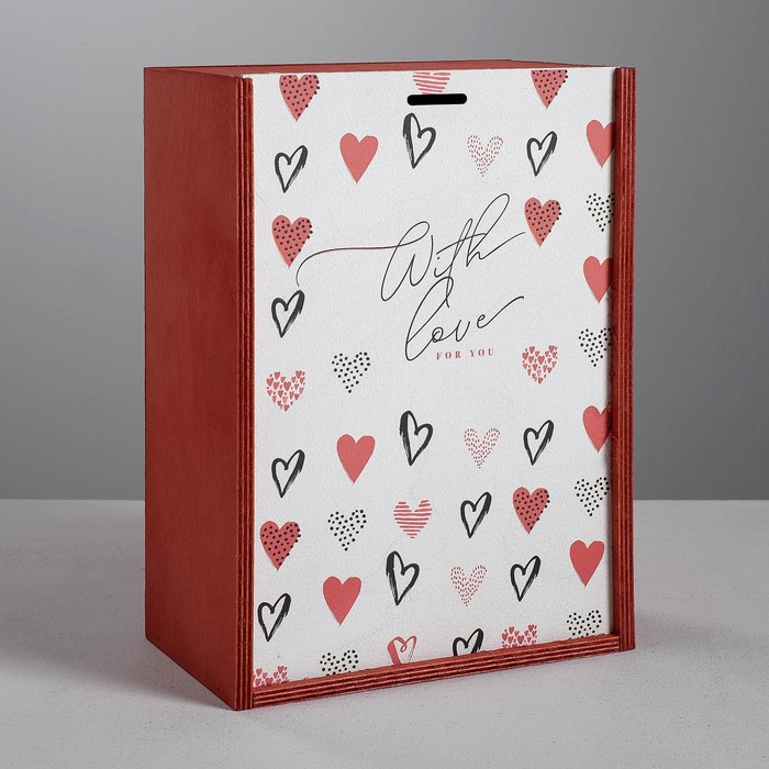 Ящик подарочный деревянный «С любовью», 20 × 30 × 12 см - фото 730516889
