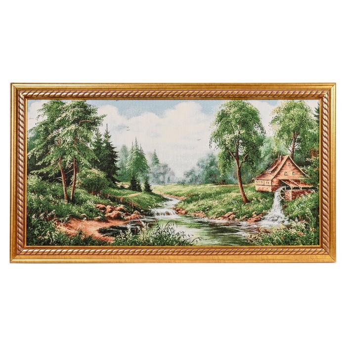 """Картина из гобелена """"Дом с водяной мельницей"""" (45х85) - фото 729678595"""