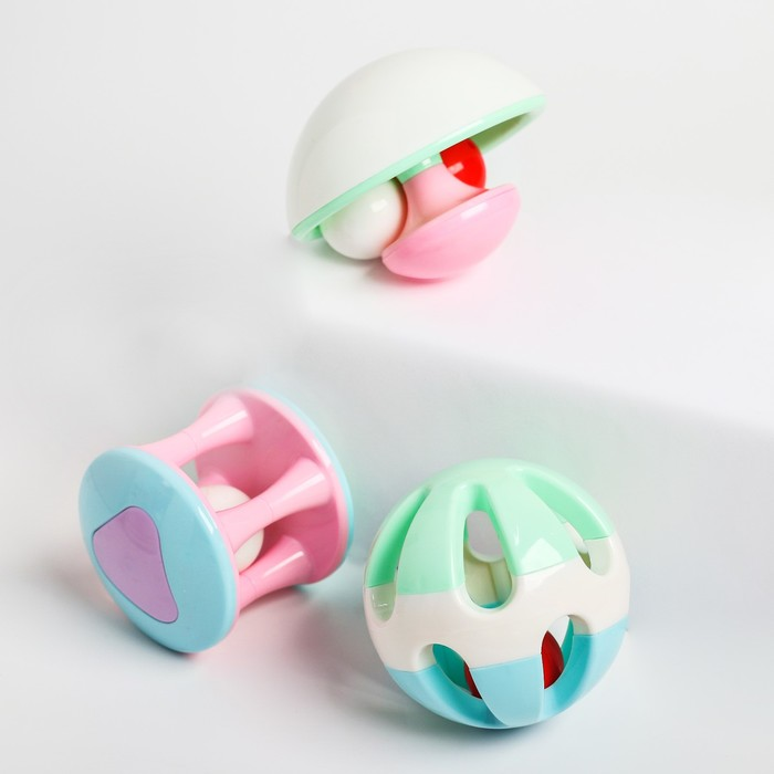 Набор погремушек «Карусельки», 3 игрушки - фото 728251308