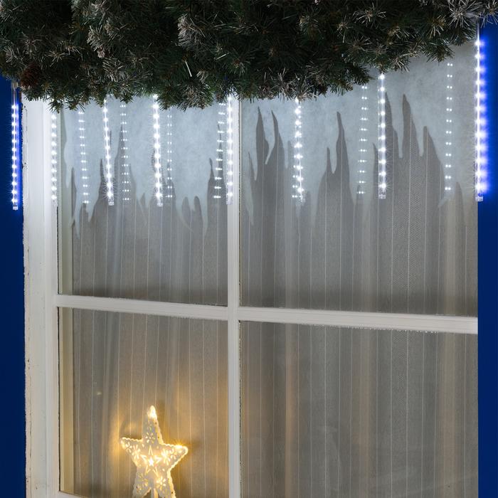 """Гирлянда """"Нить"""" 3 м с насадками """"Сосульки 30 см"""", IP20, прозрачная нить, 192 LED, свечение белое, переливы, 220 В - фото 726765623"""