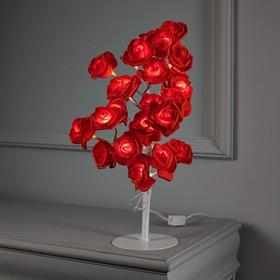 """Светодиодный куст 0.45 м, """"Розы красные"""", 24 LED, 220V, моргает Т/БЕЛЫЙ"""