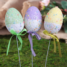 "Декор пасхальный на палочке ""Яйцо 2-х цветное посыпка"" набор 6 шт яйцо 4х6 см 24х4х4 см"