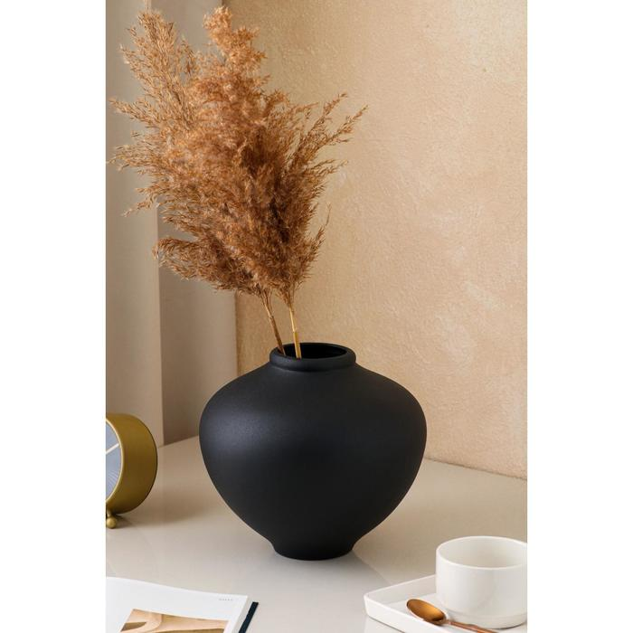 """Ваза настольная """"Юла"""", муар, чёрная, 20 см, керамика - фото 835043"""