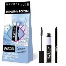 Набор Maybelline: Тушь для ресниц Snapscara, Карандаш для глаз Tatoo Liner, цвет чёрный