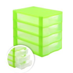 Файл-кабинет 4-секционный СТАММ, зеленый корп, прозрач УБ35