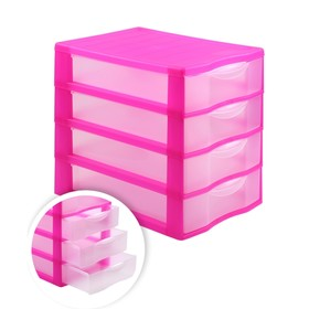Файл-кабинет 4-секционный СТАММ, розовый корп, прозрач УБ34