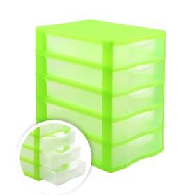 Файл-кабинет 5-секционный СТАММ, зеленый корп, прозрач УБ45