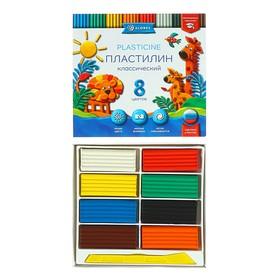 Пластилин GLOBUS «Классический», 8 цветов, 160 г, рекомендован педагогами
