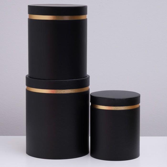 Набор коробок 3 в 1, круглый, черный, 25 х 21 х 21 - 20 х 16 х 16 см - фото 725783006