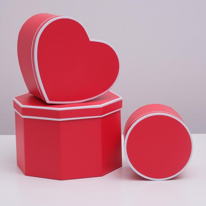 Набор коробок 3 в 1,сердце, красный, 23,5 х 23,5 х 15 - 14 х 14 х 12 см - фото 727358557