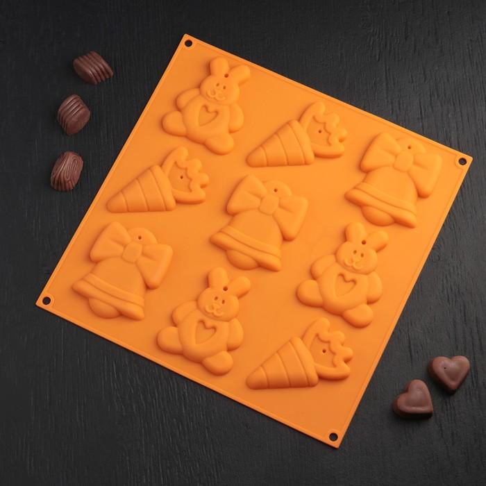 """Форма для шоколада и выпечки 9 ячеек 30,5х30x1,5 см """"Кролик с морковкой"""" цвет МИКС - фото 727718051"""