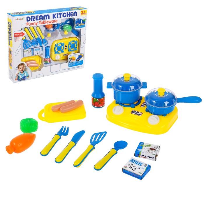 Набор посуды «Маленький Шеф» с плитой и продуктами питания - фото 725095102