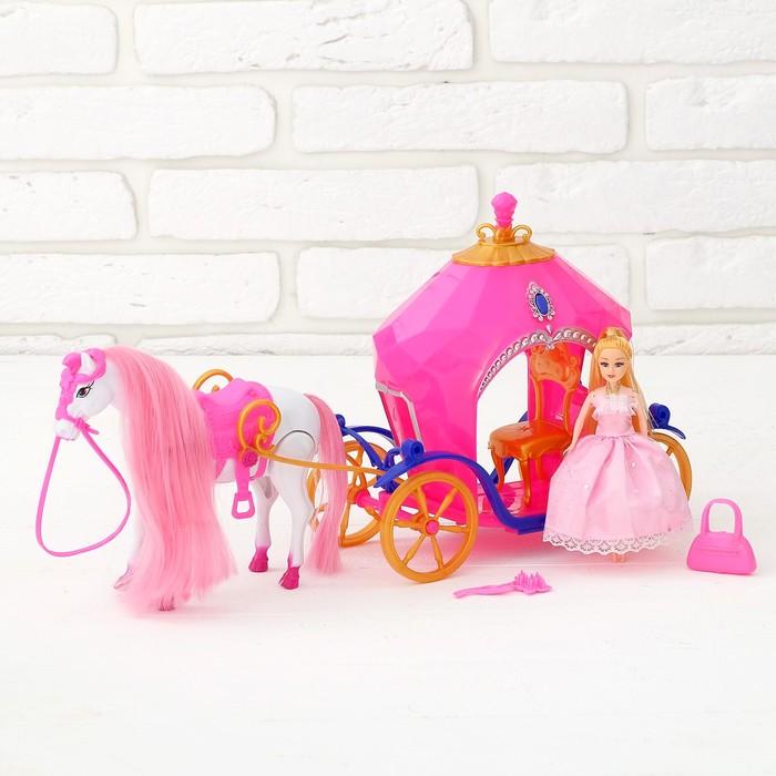Карета для кукол, лошадка ходит, с куклой