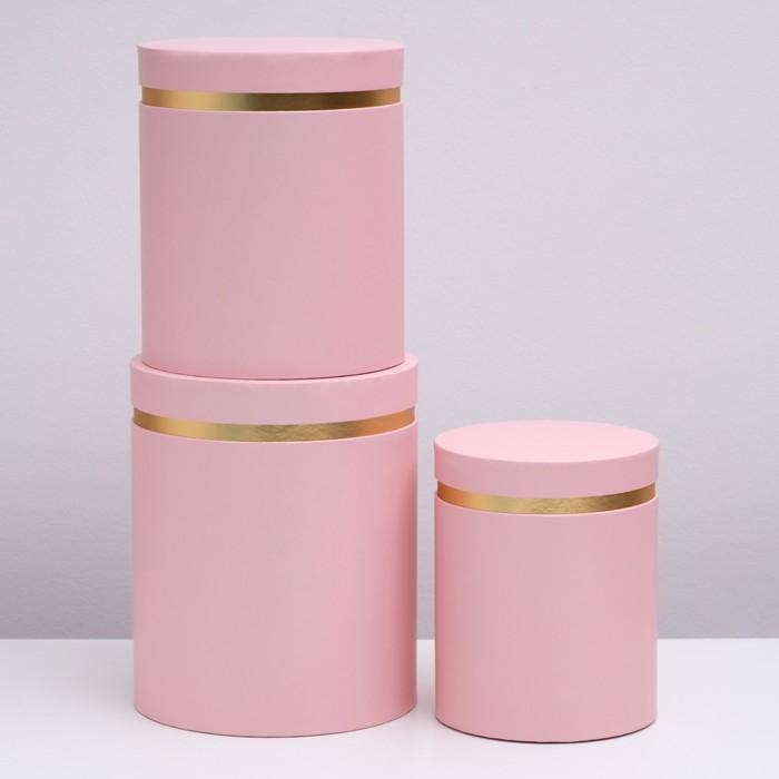 Набор коробок 3 в 1, круглый, розовый, 25 х 21 х 21 - 20 х 16 х 16 см - фото 725783016