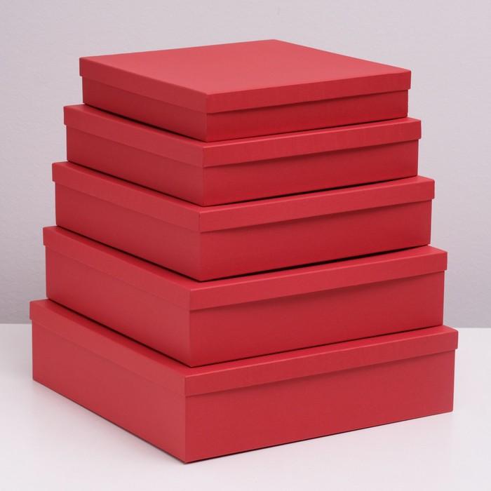 """Набор коробок 5 в 1 """"Красная ребристая"""", 34 х 34 х 9 - 26 х 26 х 5 см - фото 728922078"""