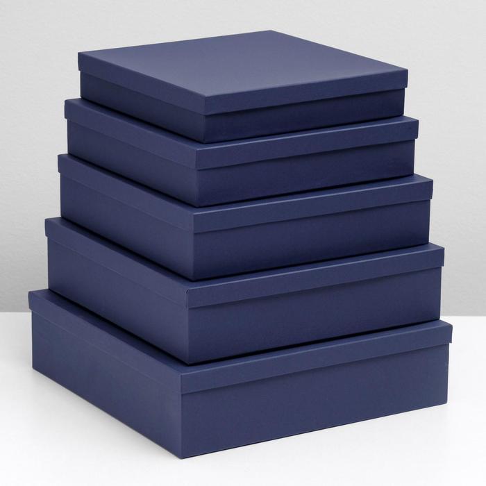 """Набор коробок 5 в 1 """"Синяя точка"""", 34 х 34 х 9 - 26 х 26 х 5 см - фото 727362820"""