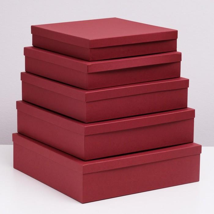 "Набор коробок 5 в 1 ""Бордовая точка"", 34 х 34 х 9 - 26 х 26 х 5 см - фото 725787440"
