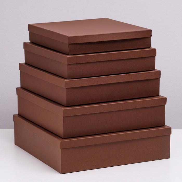"""Набор коробок 5 в 1 """"Коричневая штукатурка"""", 34 х 34 х 9 - 26 х 26 х 5 см - фото 728922095"""