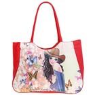 сумка пляжная Девушка в шляпе, бабочки, цв красный