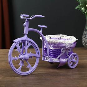 """Корзина декоративная """"Велосипед фиолетовый с круглым кашпо"""" 18х25х12 см"""
