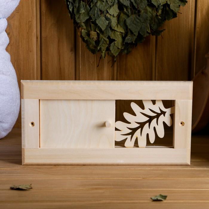 """Вентиляционная решетка """"Банный лист"""" малая, с задвижкой, 31×15 cм"""