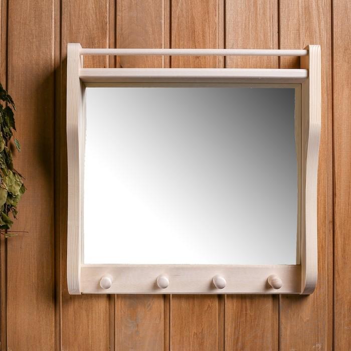 Полка с зеркалом и 3 крючками, большая - фото 4671110