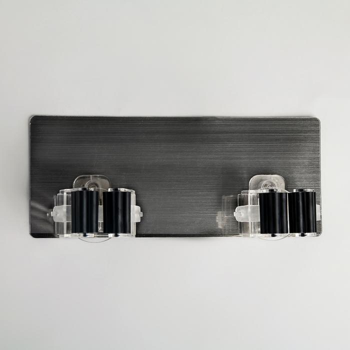 Держатель для уборочного инвентаря на липучке, 20×8×5.5 см, цвет хром - фото 4647502
