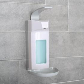 Диспенсер для жидкого мыла локтевой, 1000 мл, пластик, цвет белый
