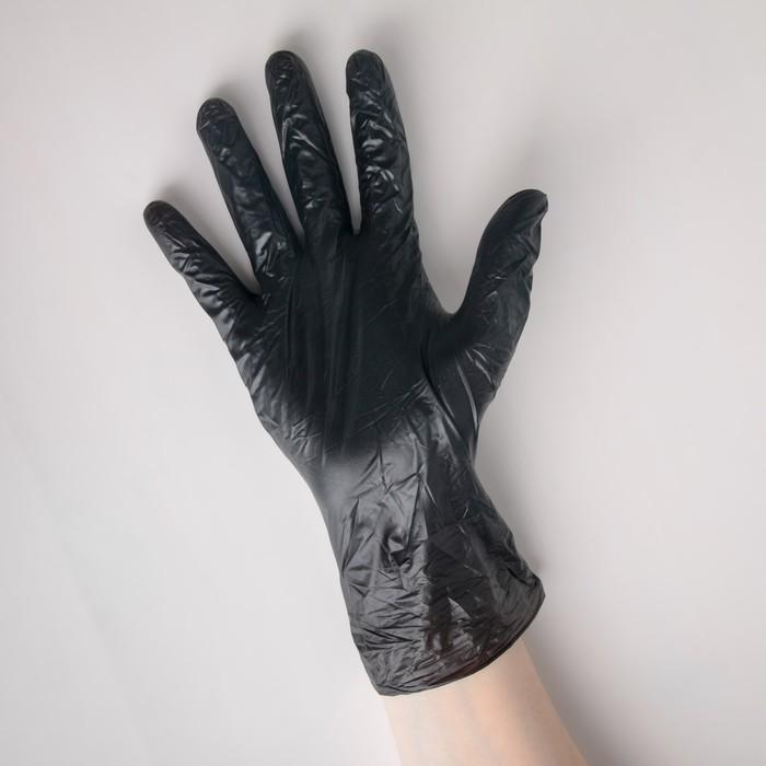 Перчатки виниловые L 100 шт/уп, цвет черный