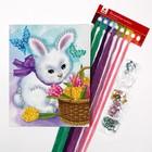 Вышивка крестиком «Белый кролик» стразами 20 х 25 см. Набор для творчества