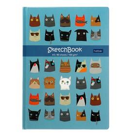 Бизнес-блокнот (скетчбук) А5, 80 листов Cats, твёрдая обложка, блок 100 г/м²