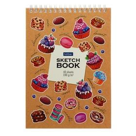Блокнот-скетчбук А5, 40 листов на гребне «Маленькие радости», обложка мелованный картон, блок 100 г/м², с пошаговыми эскизами, жёсткая подложка Ош
