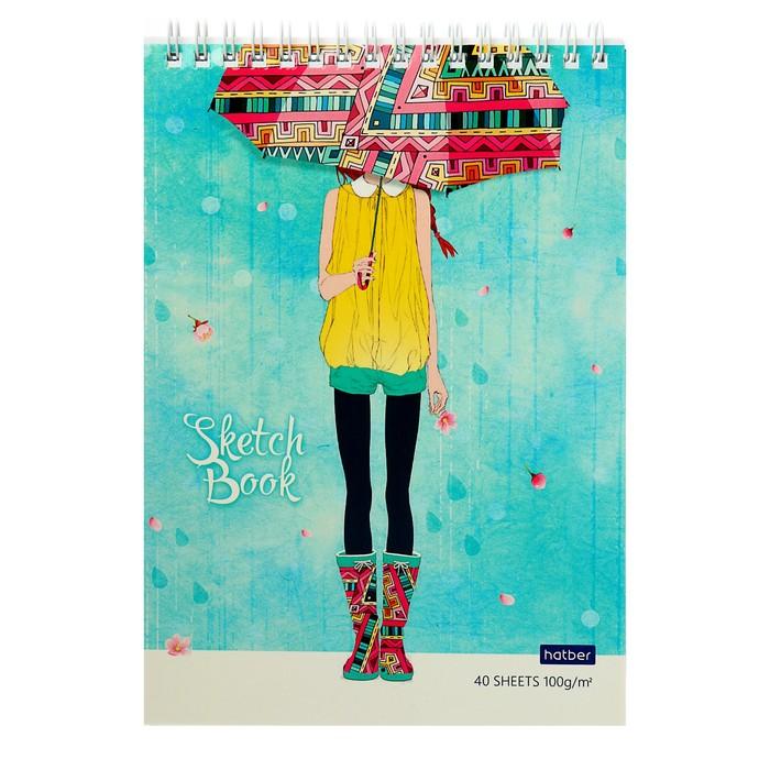 Блокнот-скетчбук А5, 40 листов на гребне «Счастливые моменты», обложка мелованный картон, блок 100 г/м², с пошаговыми эскизами, жёсткая подложка *