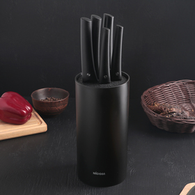 Набор ножей Nadoba Vlasta, 5 шт с блоком: 9 см; 12,5 см; 17,5 см; 20 см; 20 см, цвет чёрный