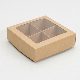 Box for candies 4 pieces, 12.5 x 12.5 x 3.5 cm, Kraft