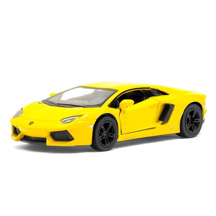 Машина металлическая Lamborghini Aventador LP 700-4, 1:38, открываются двери, инерция, цвет жёлтый - фото 1016769