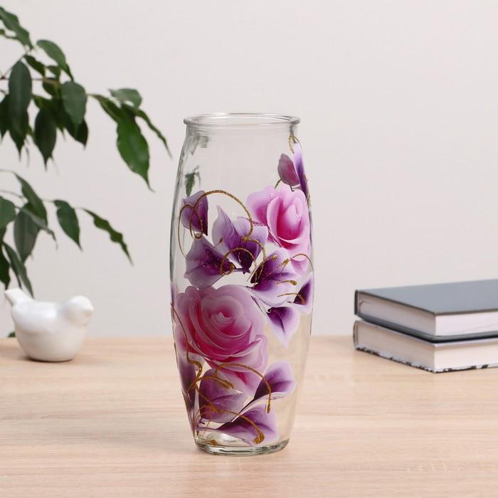 Ваза Роза с росписью на проз.стекле, d-7см 10х23 см - фото 239998782