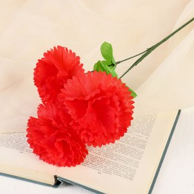 Цветы искусственные 'Гвоздика трио' 11*58 см, красный Ош