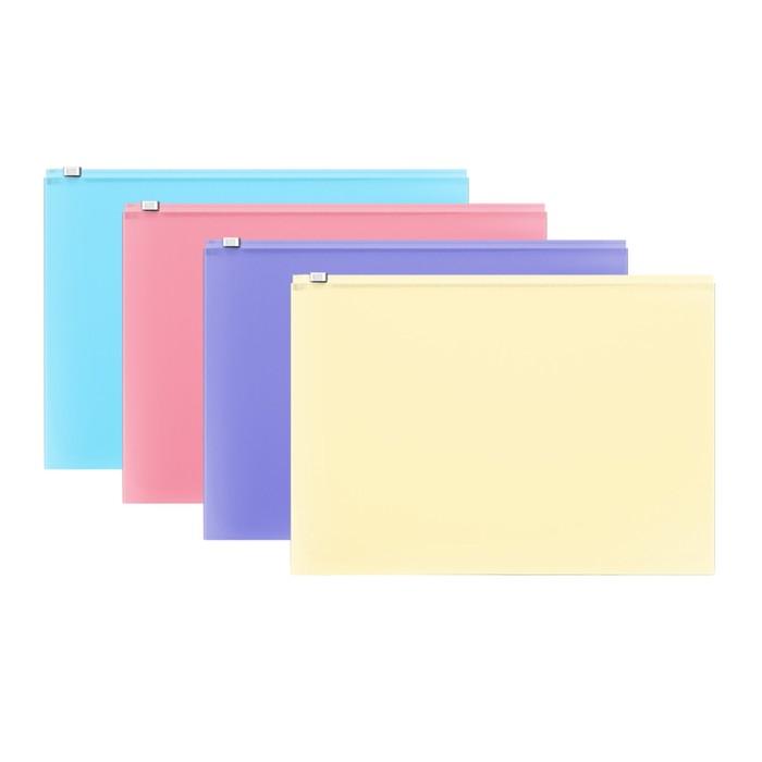 Папка-конверт на гибкой молнии ZIP, А4, пластиковая, ErichKrause Fizzy Pastel, микс - фото 2068646
