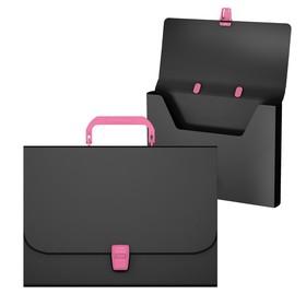 """Папка-портфель 1 отделение ErichKrause """"Matt Accent"""", A4, 335 х 230 х 35 мм, 700 мкм, черная с розовой ручкой и замком"""