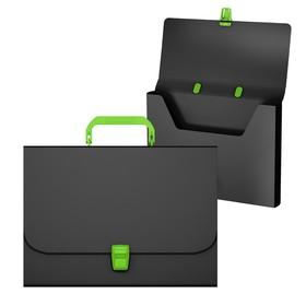 """Папка-портфель 1 отделение ErichKrause """"Matt Accent"""", A4, 335 х 230 х 35 мм, 700 мкм, черная с зеленой ручкой и замком"""