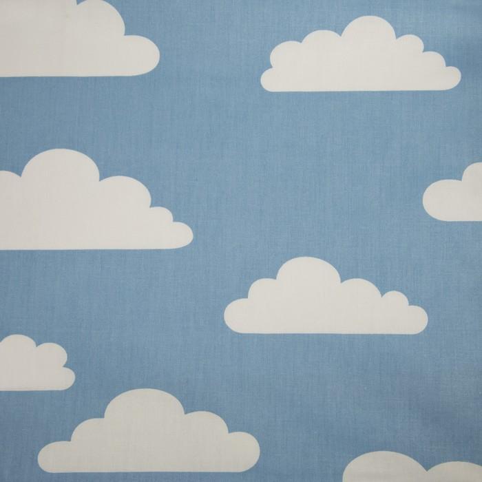 Ткань набивная «Облака» 5 м, цвет голубой, ширина 160 (± 5 см), сатин, 100% хлопок