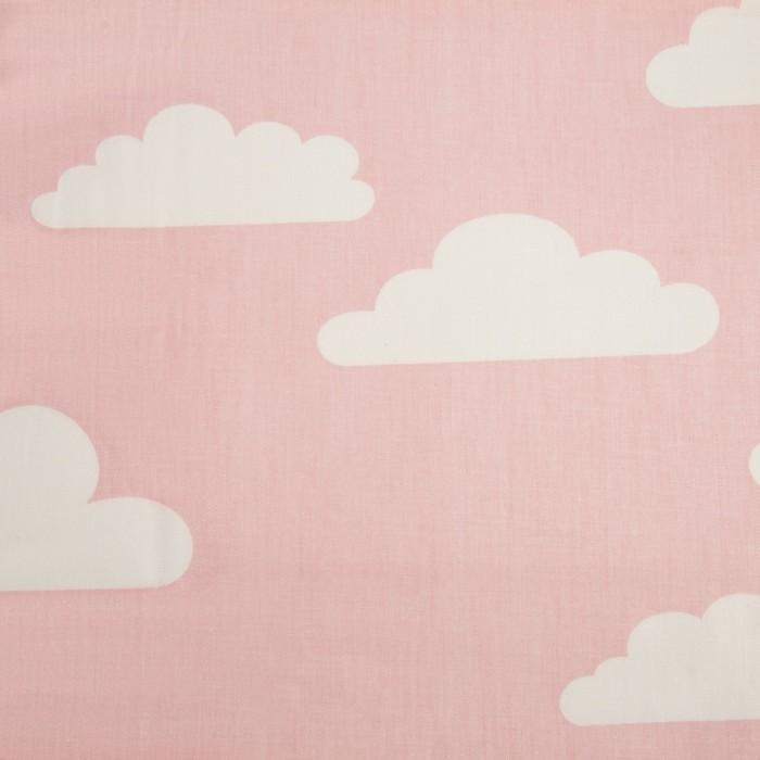 Ткань набивная «Облака» 1 м, цвет розовый, ширина 160 (± 5 см), сатин, 100% хлопок