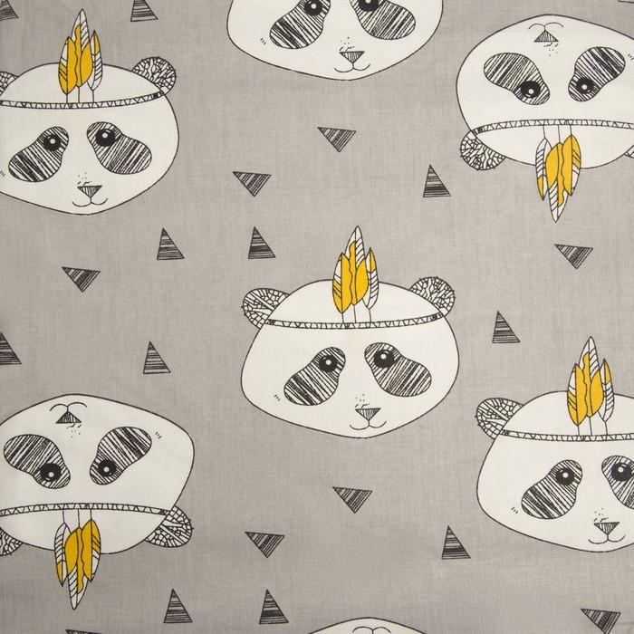 Ткань набивная «Панды» 1 м, цвет серый, ширина 160 (± 5 см), сатин, 100% хлопок