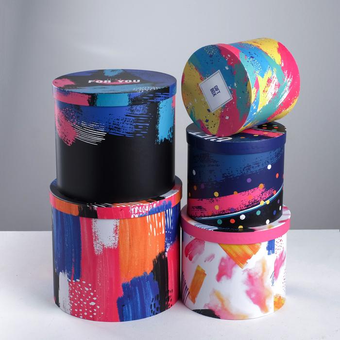 Набор подарочных коробок  5 в 1 «Мазки», 13 × 14‒19.5 × 22 см - фото 728918438