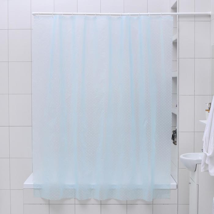 """Штора для ванной 180×180 см """"Горошек"""", EVA, цвет голубой - фото 724852909"""