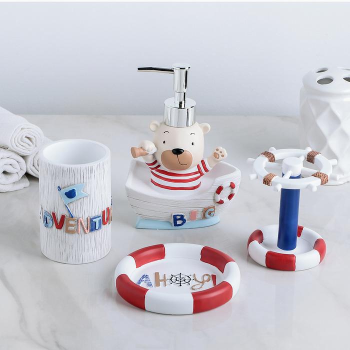 Набор аксессуаров для ванной комнаты «Приключения», 4 предмета (дозатор 150 мл, мыльница, 2 стакана) - фото 729561139