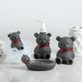 Набор аксессуаров для ванной комнаты «Мышата», 4 предмета (дозатор 220 мл, мыльница, стакан мочалка)