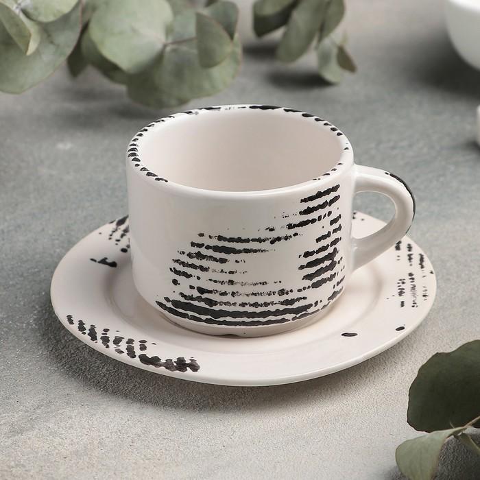 Кофейная пара Gazzetta bianco: чашка 80 мл, блюдце d=6 см - фото 724590984